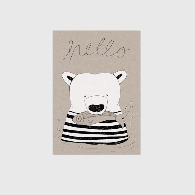 kinderposter ijsbeer op kraft papier