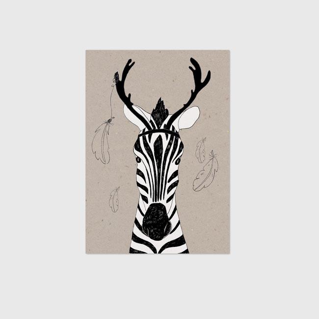 Kinderposter Zebra op Kraftpapier