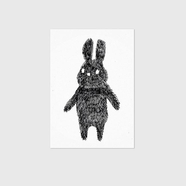 Poster gestreepte konijn