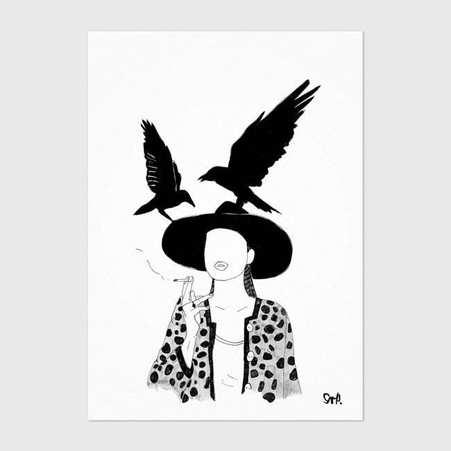 Poster vrouw met kraaien (A4)