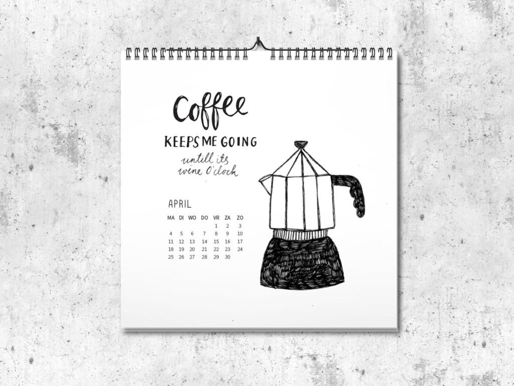 Kalender op maat 2016 april