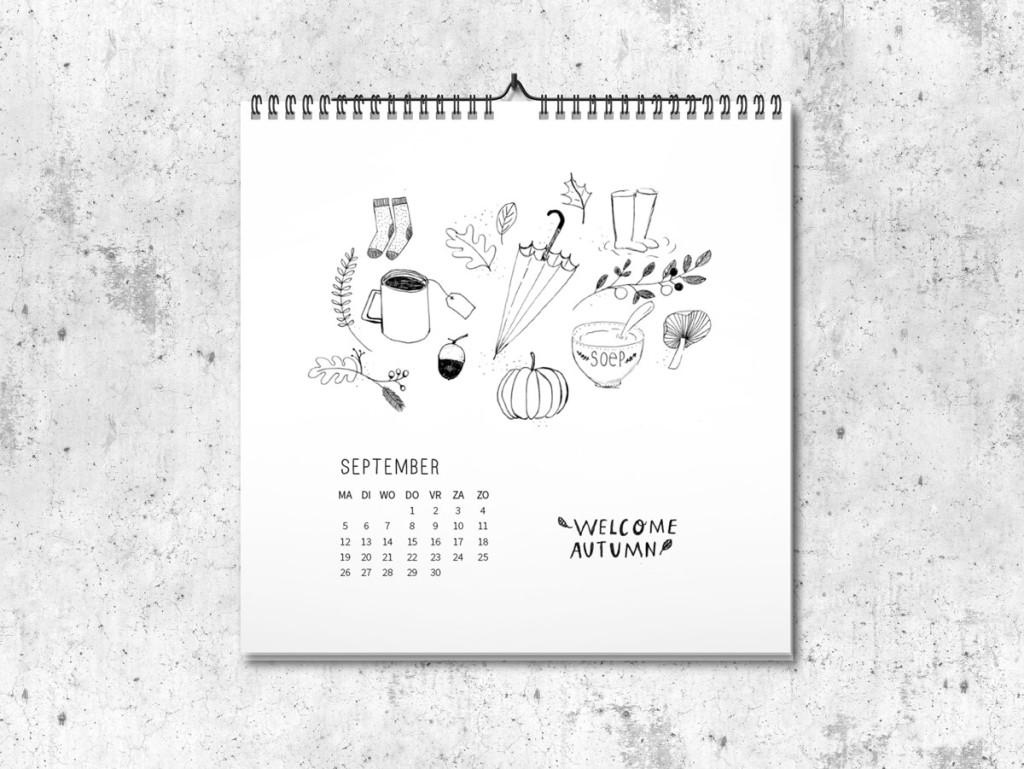 Kalender op maat 2016 september