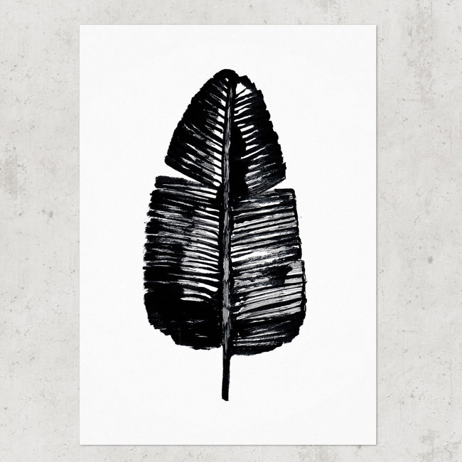 Bananenblad poster zwart wit A4
