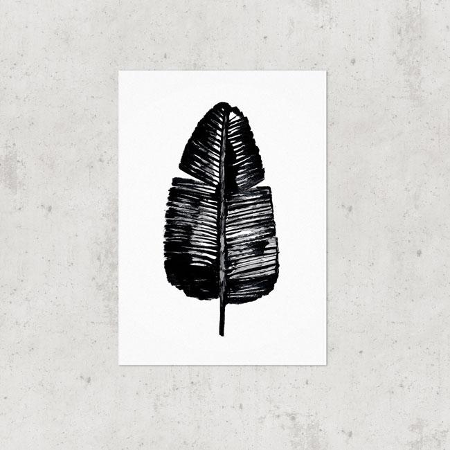 bananenblad poster zwart wit